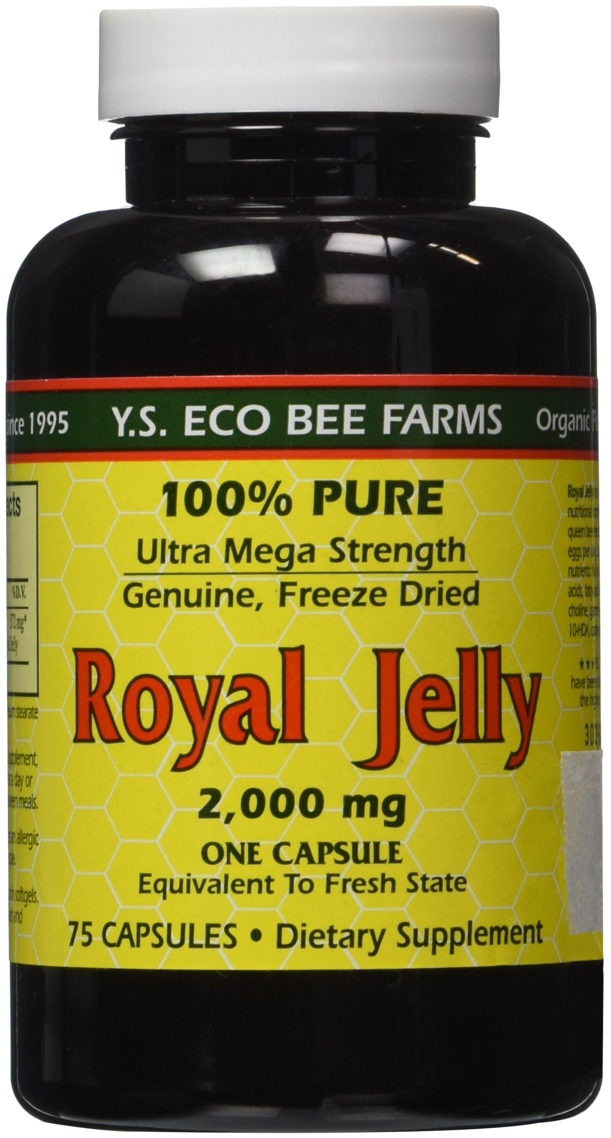 100% Pure Freeze Dried Fresh Royal Jelly - 2000 mg YS Eco Bee Farms 75 Caps