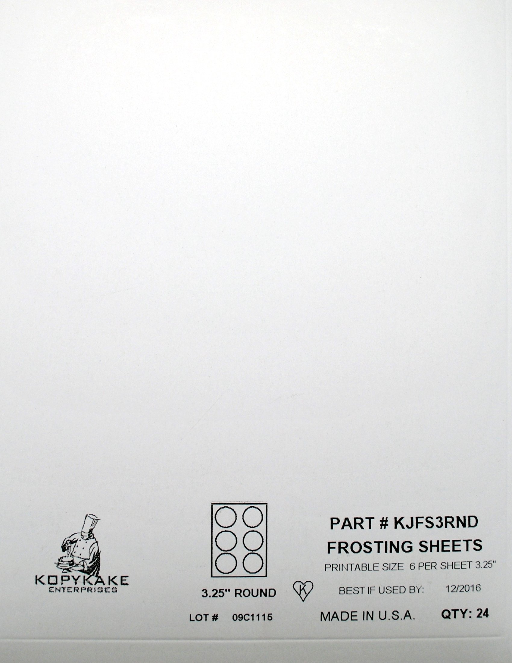 Kopykake KJFS3RND 3'' Circle Frosting Sheets (24 sheets per pack/ 3'' print area)