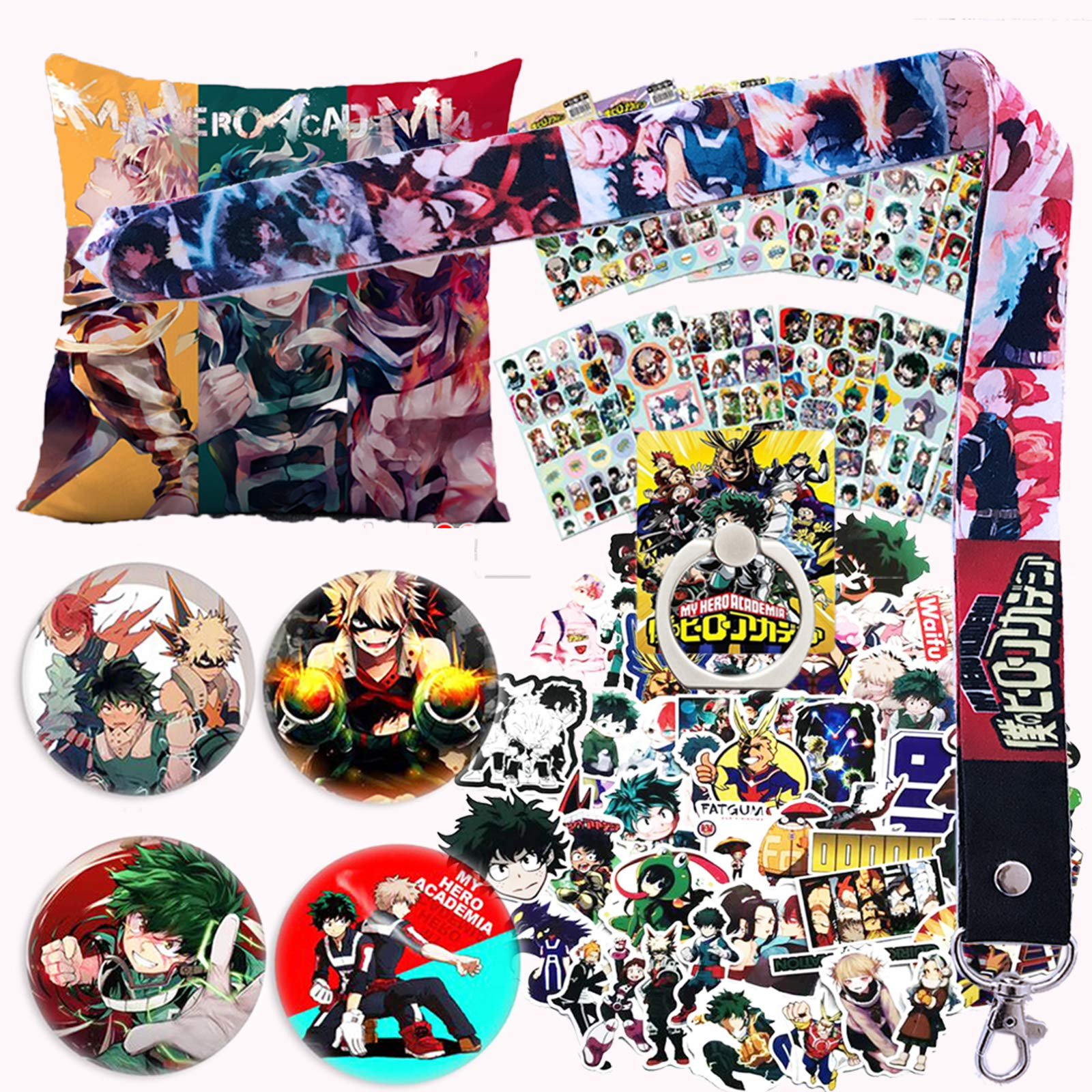 My Hero Academia Pillow Cover Stickers Gift Set - 1 MHA Pillow Case, 12 Sheets of Stickers, 73 Carton Stickers, 4 Button Pins, 1 Lanyard, 1 Phone Ring Holder for Anime MHA Fans