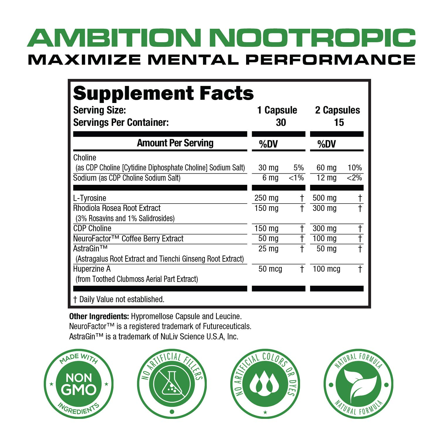 Ambition Nootropic Brain Booster Supplement - Enhance Focus, Boost Memory & Clarity - Achieve Peak Mental Performance w/CDP Choline, Neurofactor, More - 30 Natural Veggie Pills by Primal One (Image #6)
