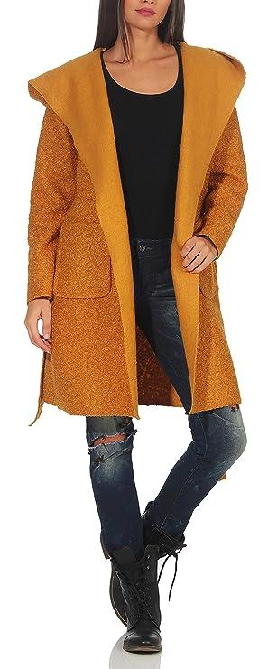 Malito Mujer Abrigo Boucle Lana Chaqueta Trenchcoat Vellón Capucha 9320