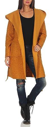 malito Mujer Abrigo Boucle Lana Chaqueta Trenchcoat Vellón Capucha 9320 (amarillo, adecuado de la