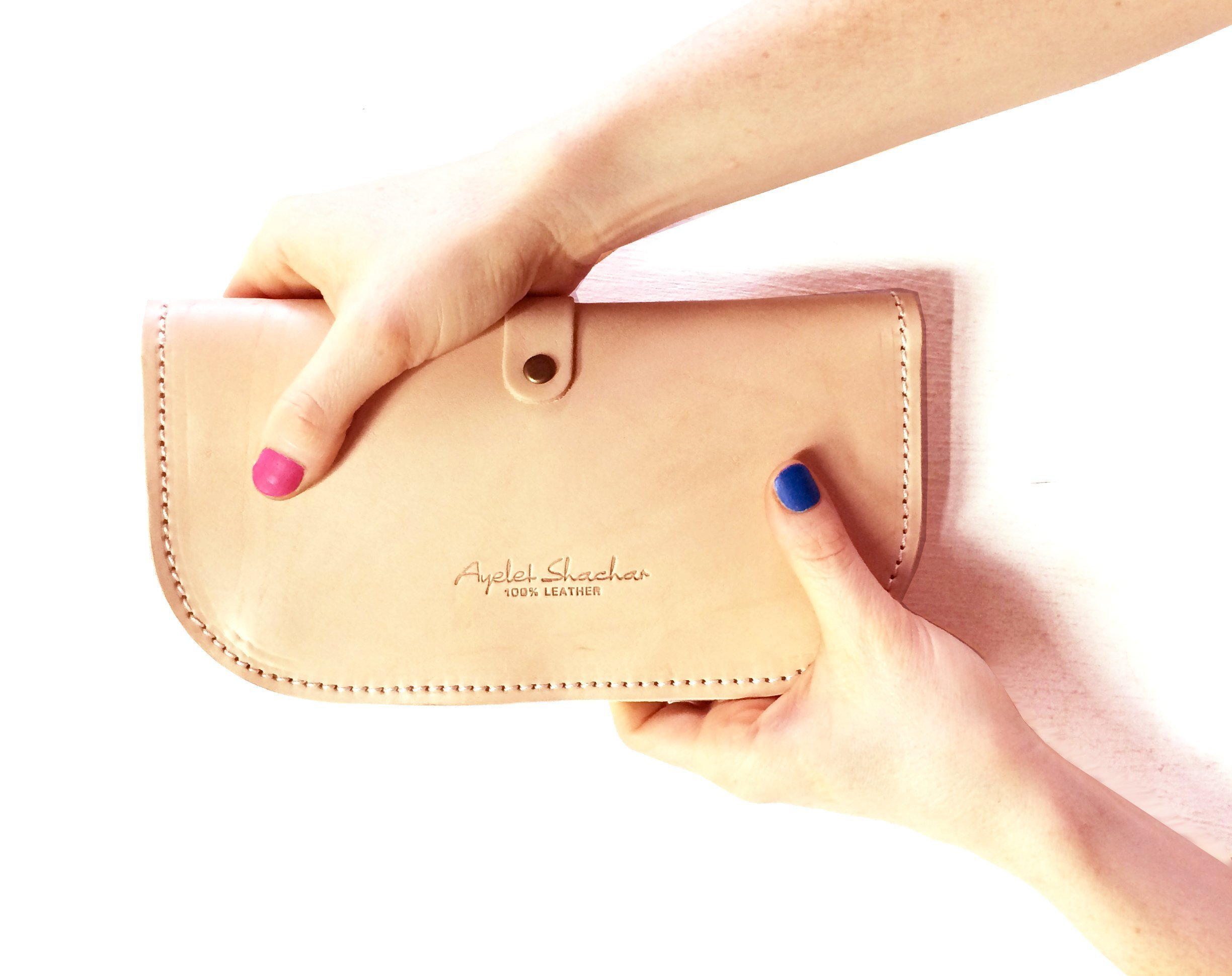 Purple Leather Clutch Wallet For Women , Gift For Her