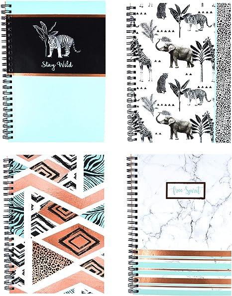 YoL Pack de 4 Cuadernos de Notas A5 Espiral con Alambre de Mármol Moderno Diseño Oficina Escuela Trabajo Rosa Negro y Blanco Palma Hoja Chevron Lunares Efecto marmoleado Oro Rosa: Amazon.es: Hogar