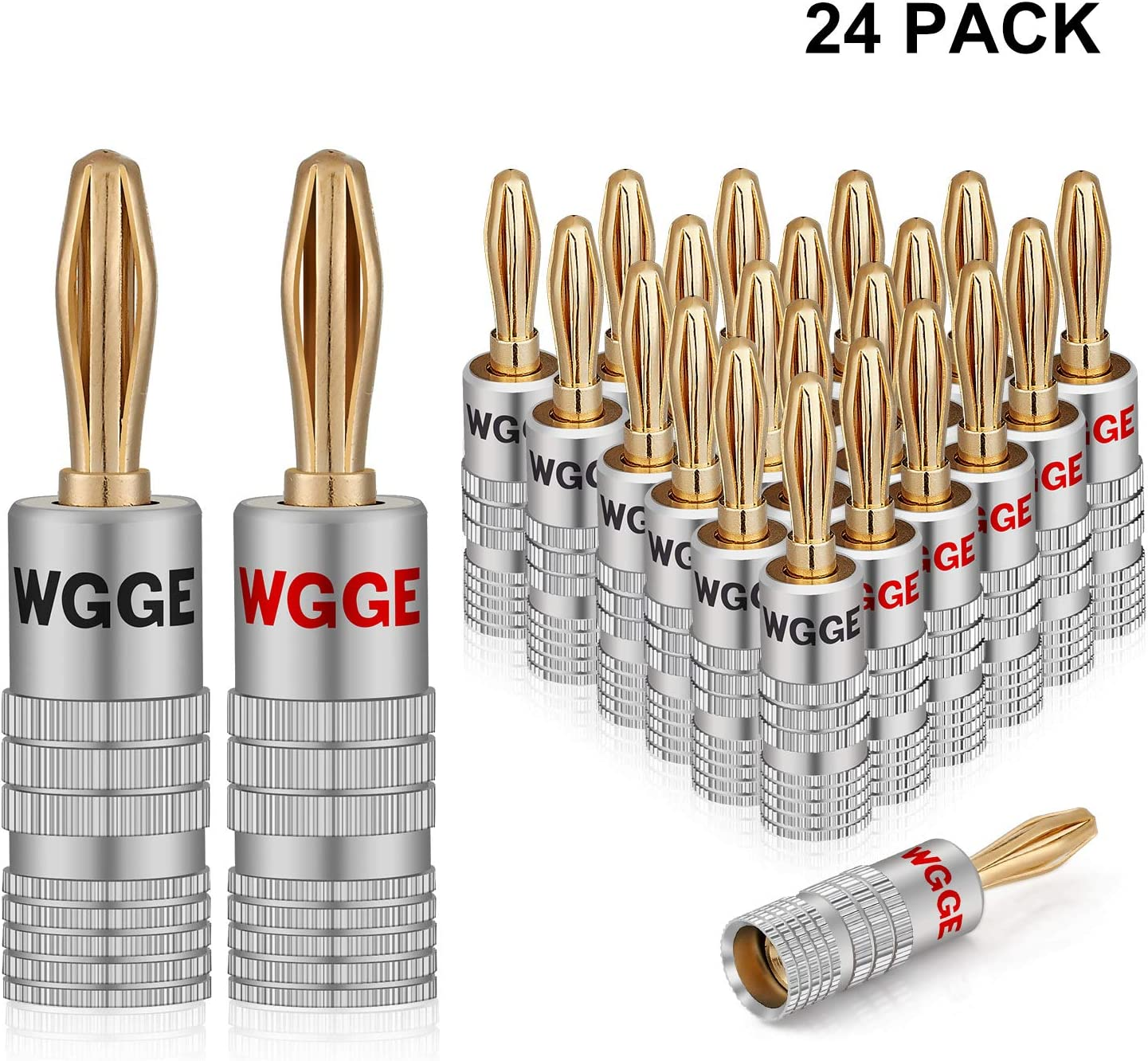 WGGE WG-009 Banana Plugs Audio Jack Connector, 24k Gold Dual Screw Lock Speaker Connector (12 Pairs (24 Plugs))