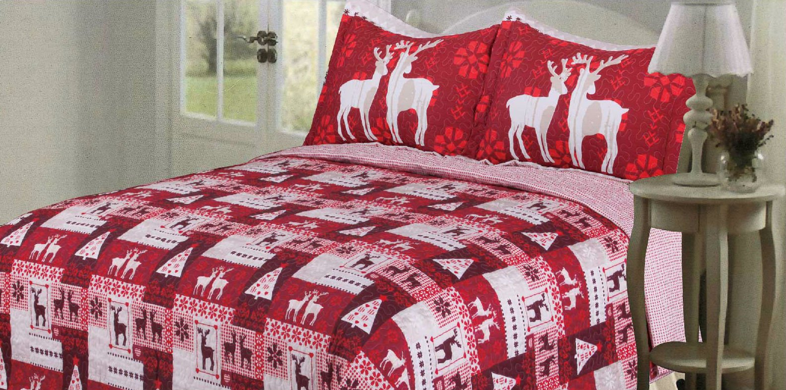 Christmas Quilt Bedspreads 3 Piece Set - Bedspread Coverlet and Holiday Pillow Shams - Premium Quality Microfiber Red and White Bed Covers with Reindeer and Christmas Tree Design by DELUXE HOME