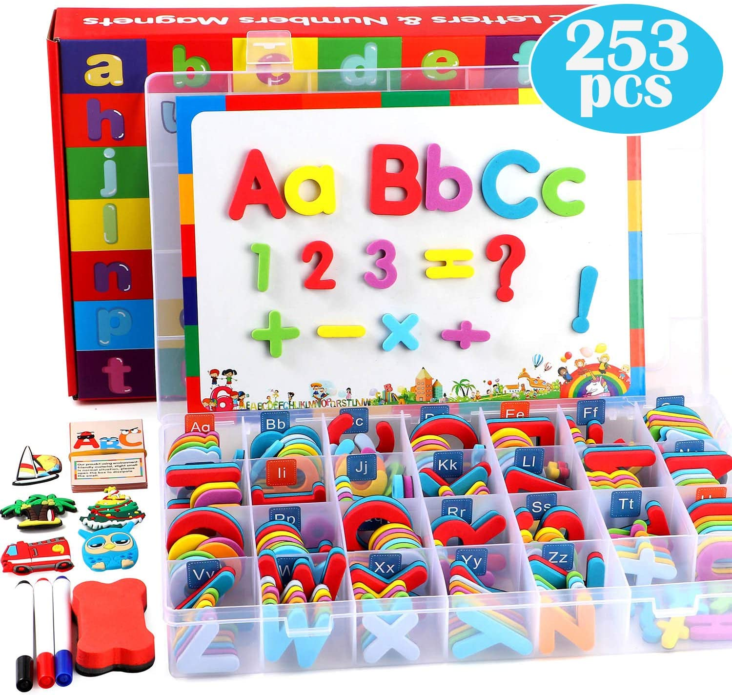 253 PCS Magnetic Letters Numbers with Magnetic Board and Storage Box Foam Alphabet ABC Refrigerator Magnets Educational Toys for Kids Children Toddlers: Furniture & Decor