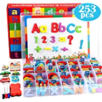 253 PCS Magnetic Alphabet Letters and Numbers Kit with Double-Sided Magnetic Board and Storage Box Foam Alphabet ABC…