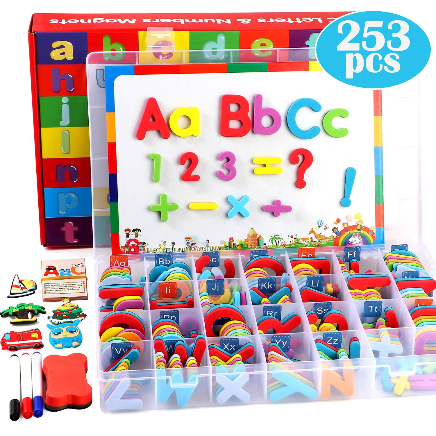 253 PCS Magnetic Letters Numbers with Magnetic Board and Storage Box Foam Alphabet ABC Refrigerator Magnets Educational Toys for Kids Children Toddlers by Toyssa