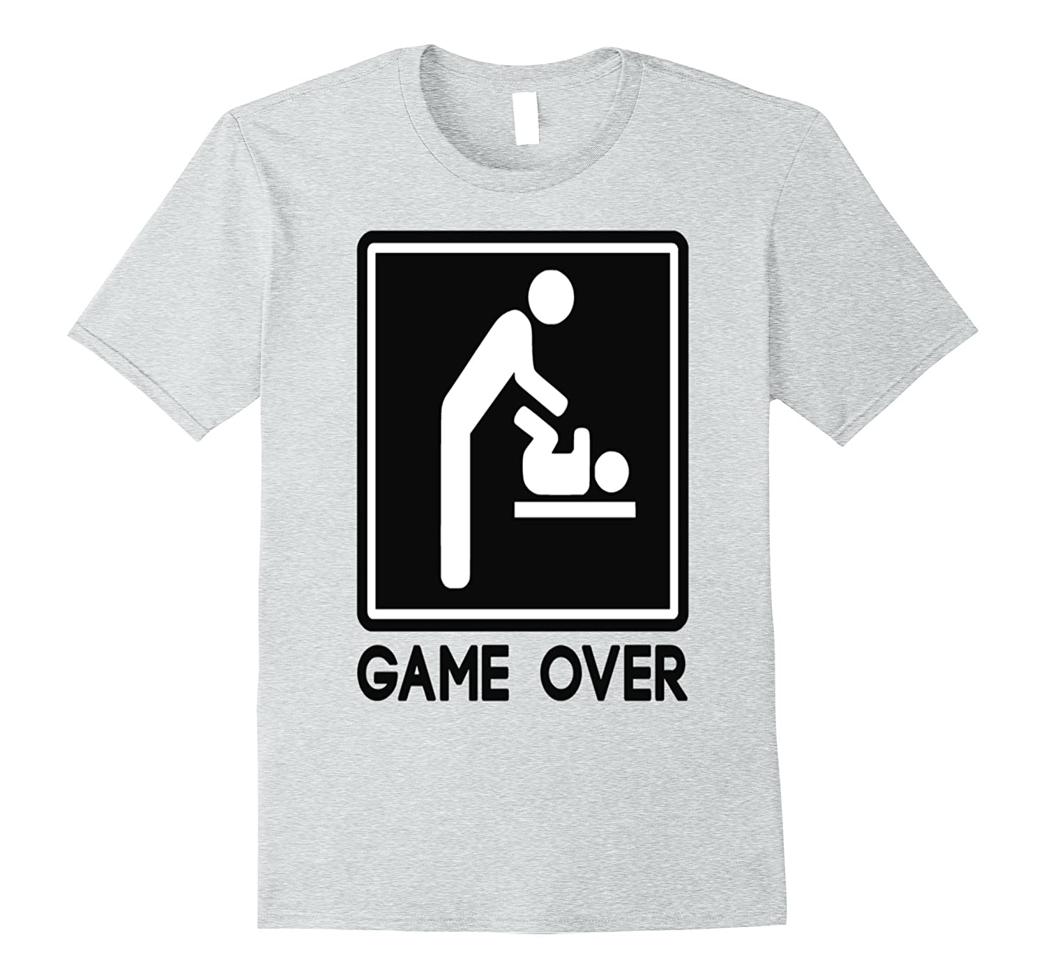 b485b030 Mens Game Over New Dad Tshirt Baby Announcement Tshirt Fathers-Vaci ...
