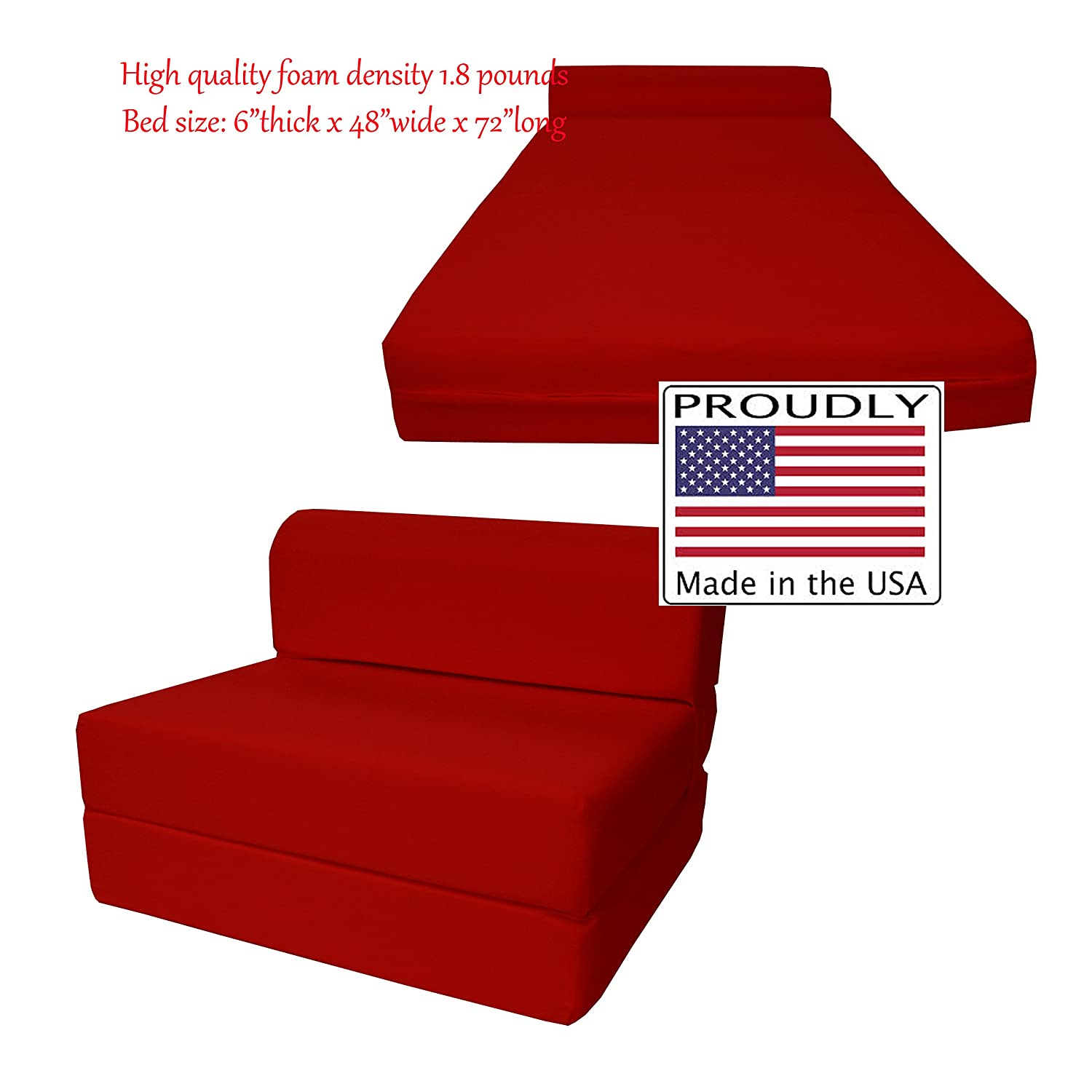 Amazon Red Sleeper Chair Folding Foam Bed 6 x 48 x 72 inches