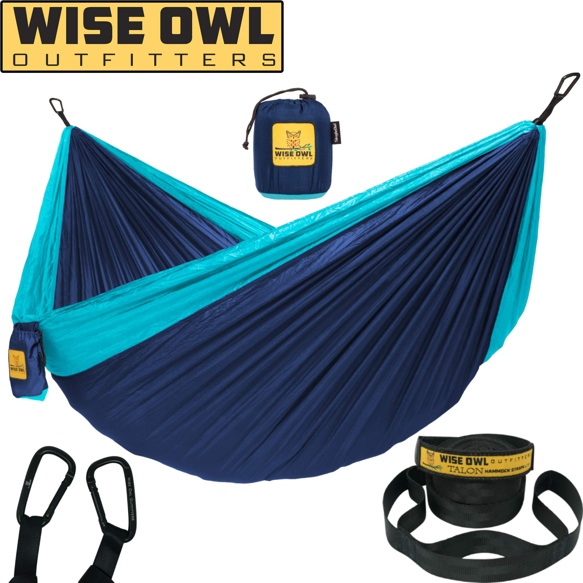 Wise Owl Outfitters Hammock Camping Double & Single with Tree Straps - USA Based Hammocks Brand Gear, Indoor Outdoor Backpacking Survival & Travel, Portable SO NvyBlu by Wise Owl Outfitters