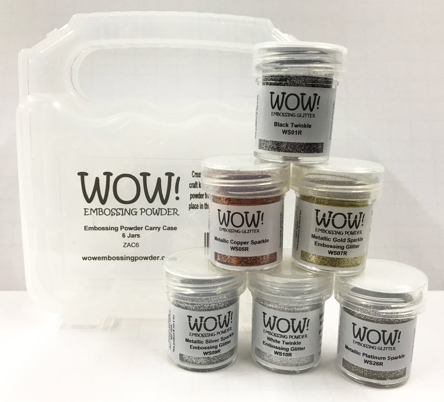 WOW! Embossing Powder in Metallic Shimmer Colors 6-Pack Kit and Clear Carrying Case - Bundle 7 Items