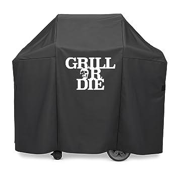 GRILL OR DIE - Funda para barbacoa, color negro