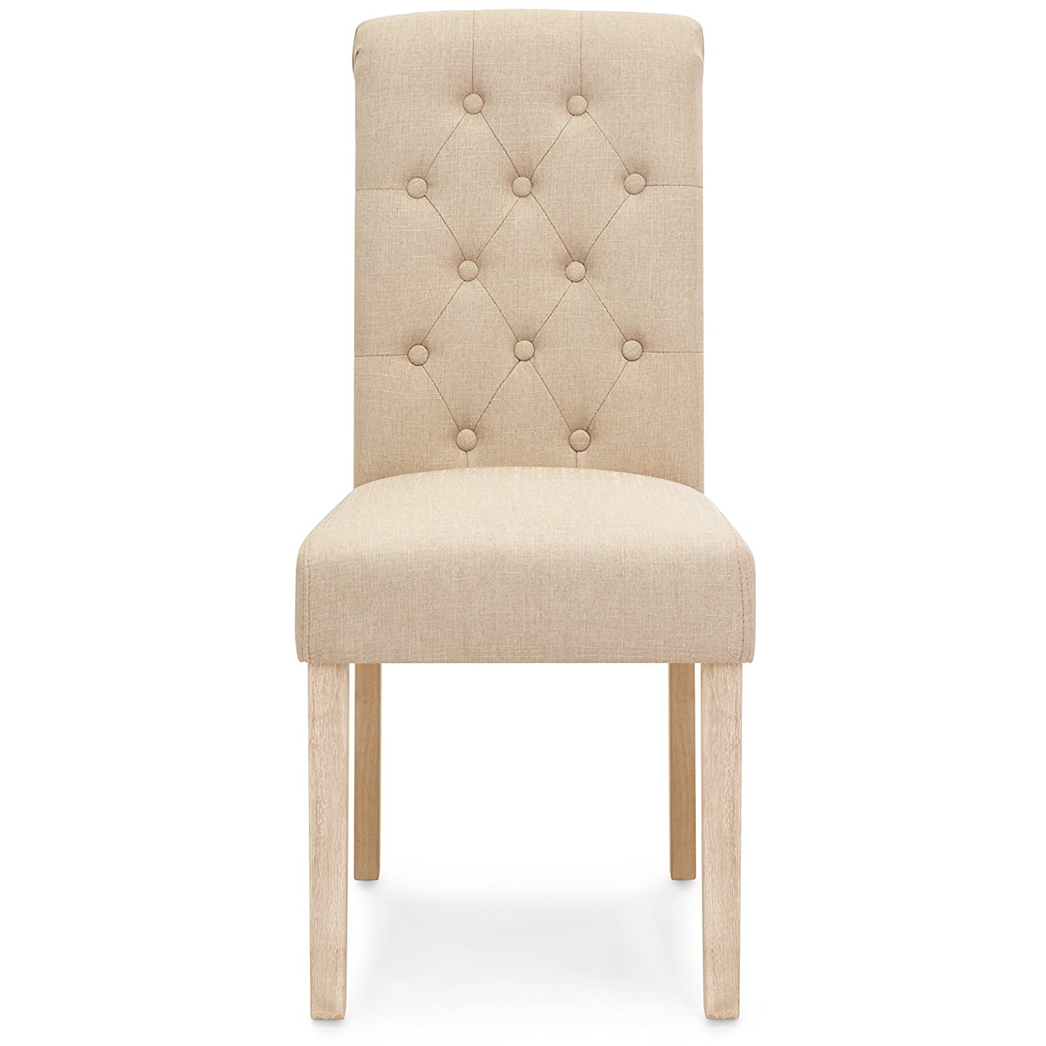 Best Choice Products Set of 2 Tufted High Back Parsons Dining Chairs Tan