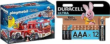 PLAYMOBIL City Action Camión de Bomberos con Escalera, Luces y Sonido, a Partir de 5 Años (9463) + Duracell - Ultra AAA con Powerchek, Pilas Alcalinas (Paquete de 12) 1.5 Voltios: Amazon.es: Juguetes y juegos