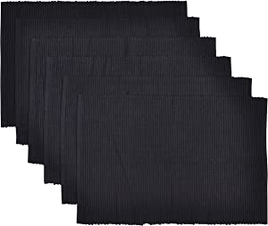 Yourtablecloth Ribbed Cotton Placemats – Placemat with Thicker Construction – Heavy Duty, Eco Friendly & Elegant Large Placemats –Set of 6 –Be it Restaurant or Home – Black