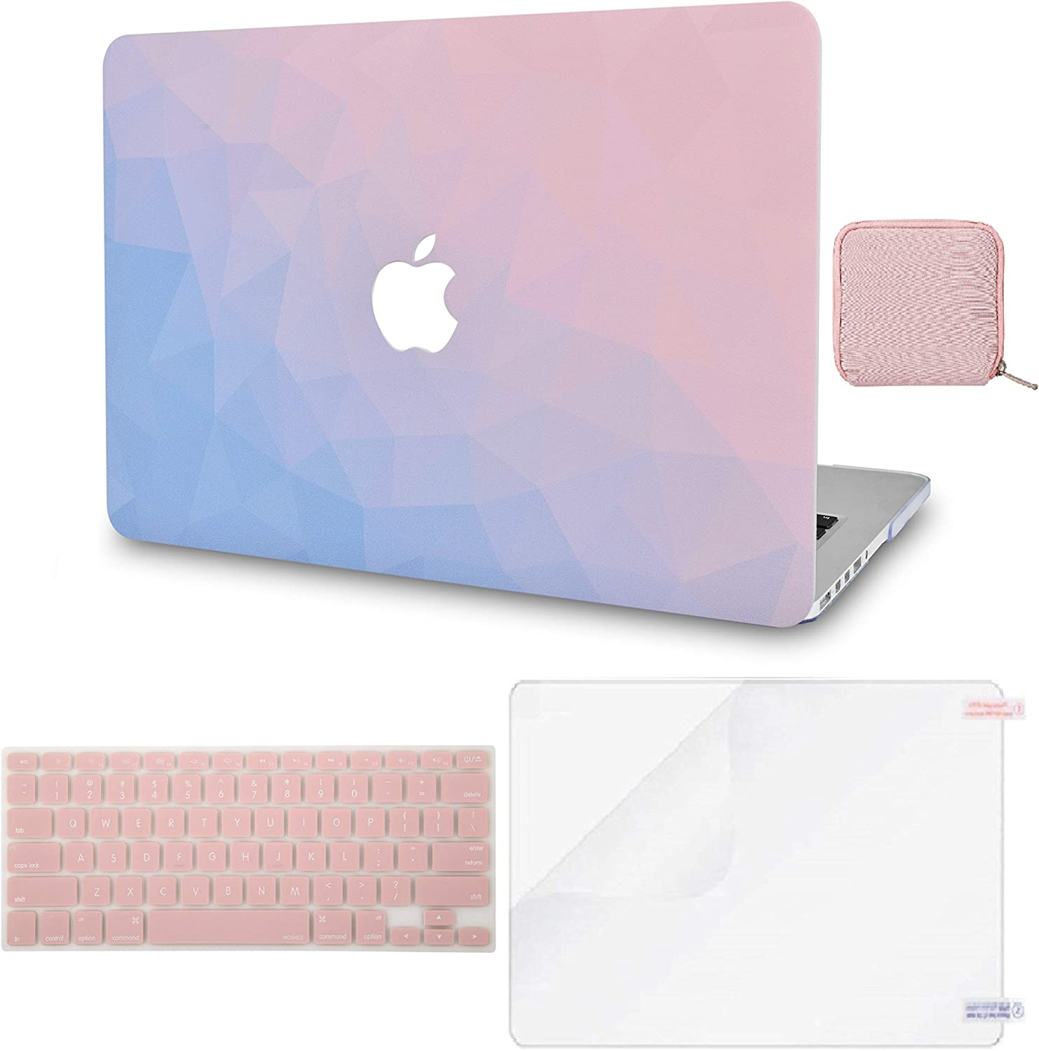 LuvCase 4 in 1 Laptop Case for MacBook Air 13 Inch (Touch ID)(2020) A2179 Retina Display Hard Shell Cover, Pouch, Keyboard Cover & Screen Protector (Ombre Pink Blue)