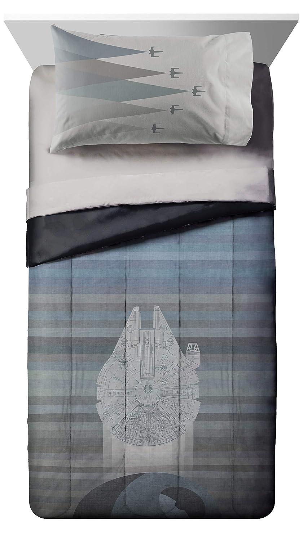 Jay Franco Star Wars Millennium Falcon Vs. Death Star Full/Queen Comforter Set - Super Soft Kids Reversible Bedding - Fade Resistant Polyester Microfiber Fill (Official Star Wars Product)