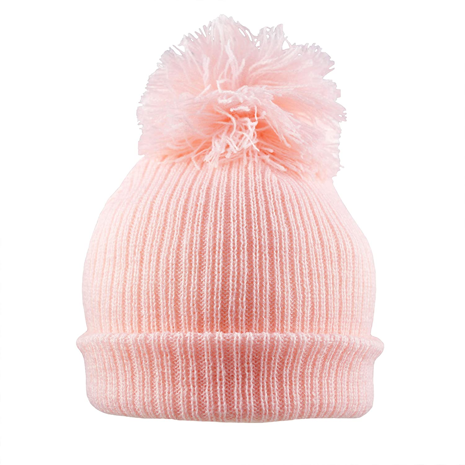 Pesci Baby Boys Girls Pom Pom Hat Plain Knit Kids 6125