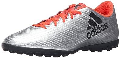 adidas Performance Mens X 164 TF Soccer Shoe Silver Metallic Black  Infrared