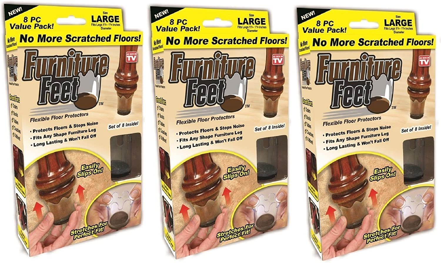 "Furniture Feet Flexible Floor Protectors, Fits Legs 1 3/8""-1 5/8"", Large, 24 Pack"