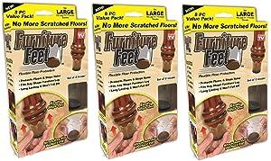 "Furniture Feet Flexible Floor Protectors, Fits Legs 1 3/8""-1 5/8"", Large, 24 Pack"