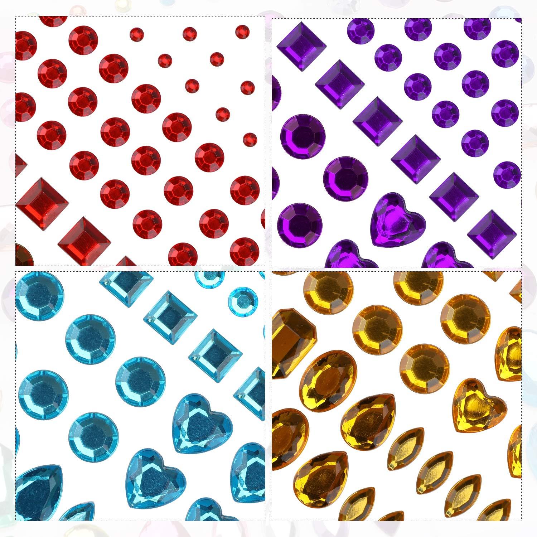 hogary 486pcs 6 hojas autoadhesivas Rhinestone Sticker Multicolor Bling Craft Jewels Crystal Gem Stickers