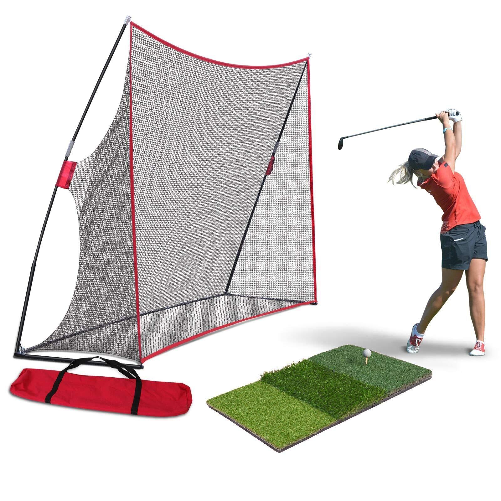 Nova Microdermabrasion Large 10x7ft Portable Golf Net Hitting Net Practice Driving Indoor Outdoor w/Tri-Turf Golf Hitting Grass Mat by Nova Microdermabrasion