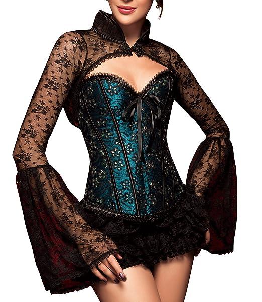 R-Dessous Blusa para mujer, diseño de encaje, estilo bolero, color negro : Amazon.es: Ropa y accesorios