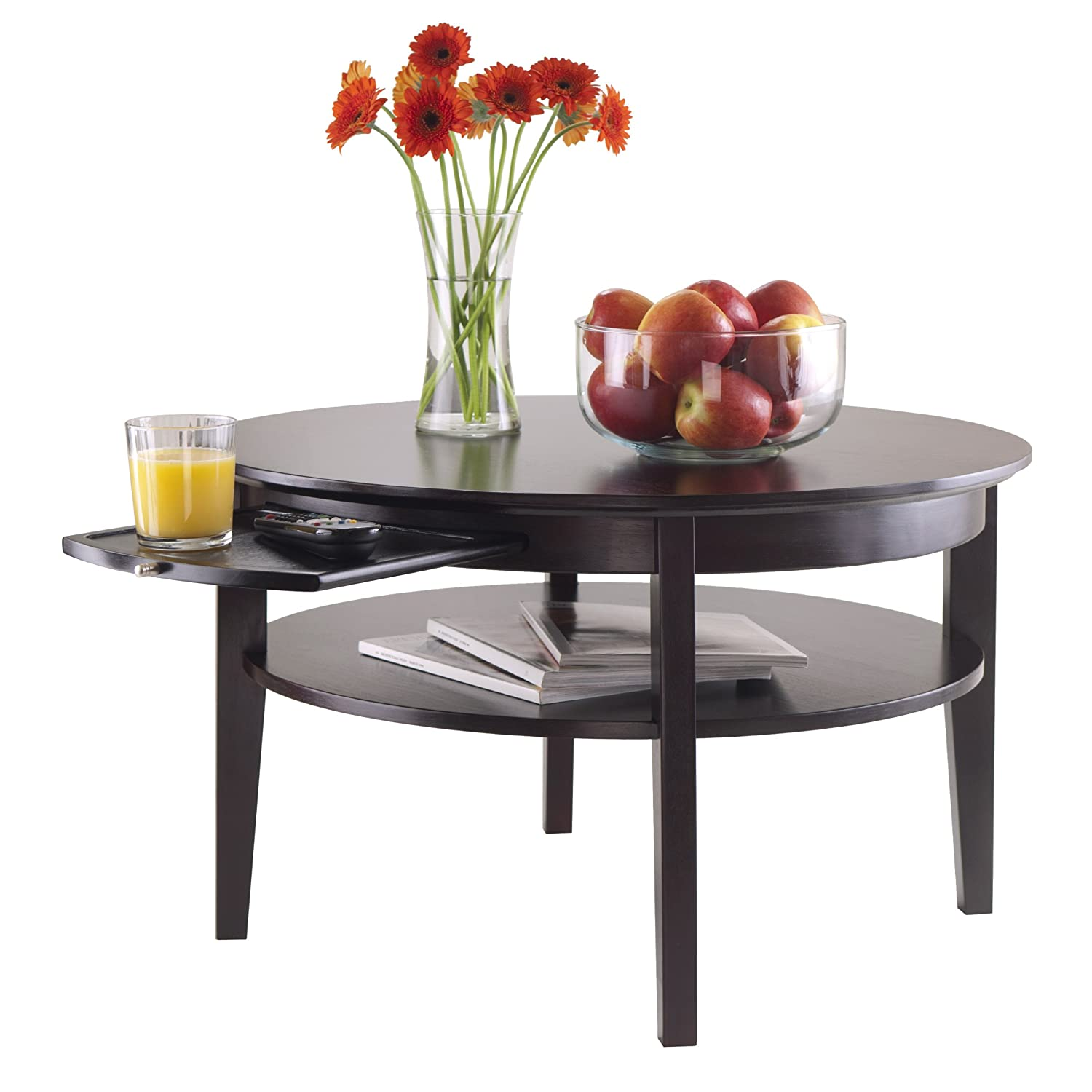 amazon com winsome amelia round coffee table with pull out tray
