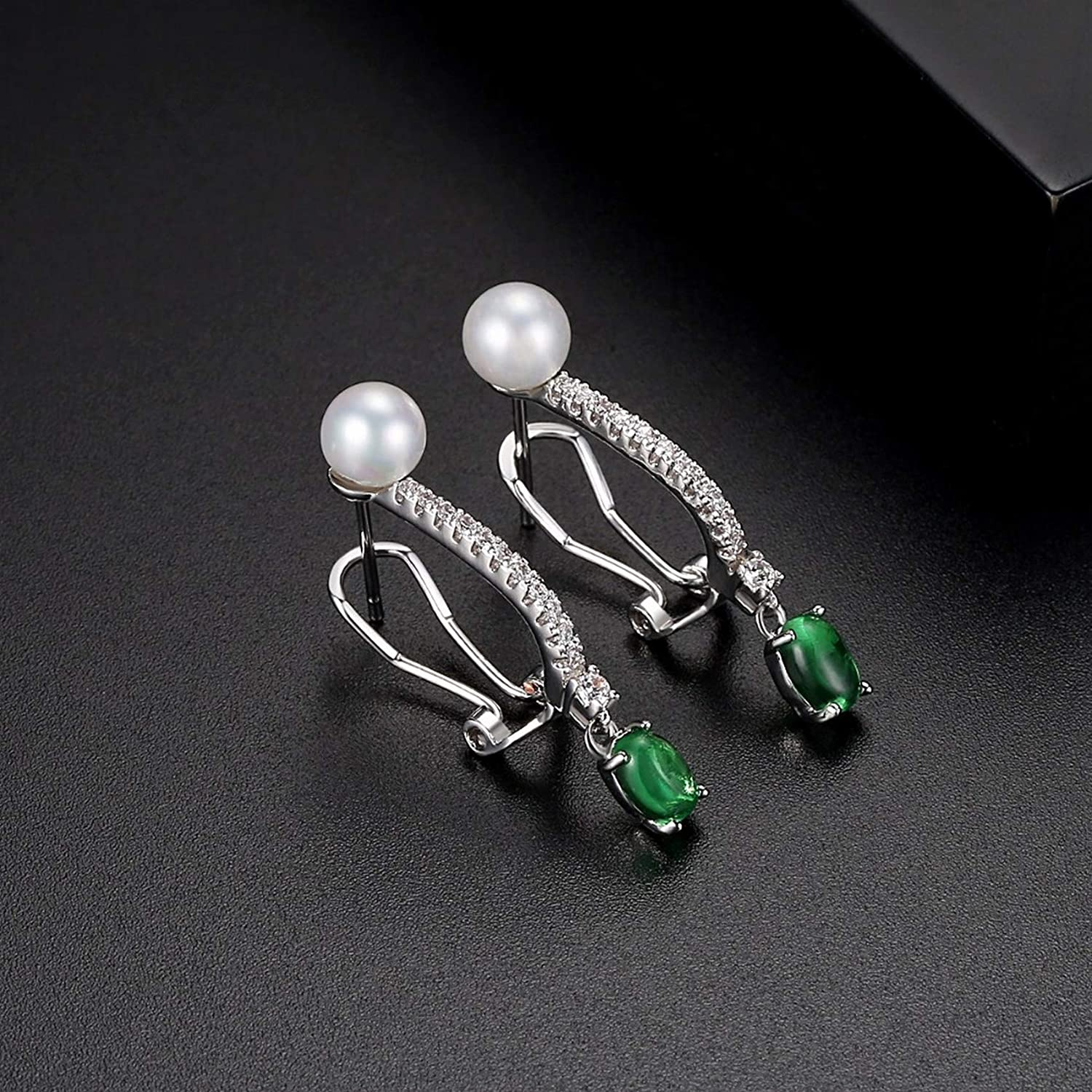 CS-DB Silver Inlaid Green Clear Cubic Ziron Imitation White Round Pearl Stud Charm Earrings