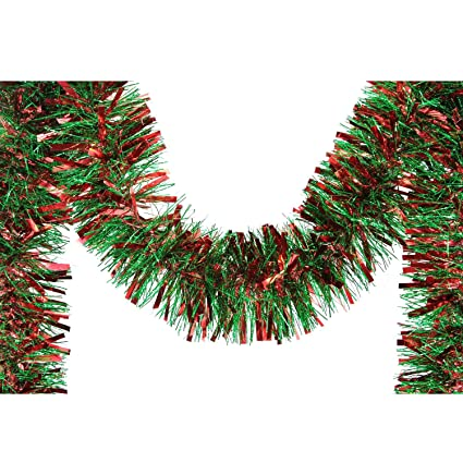Christmas Tinsel Garland.Amazon Com F C Young Unlit Soft And Sassy Red Green Wide