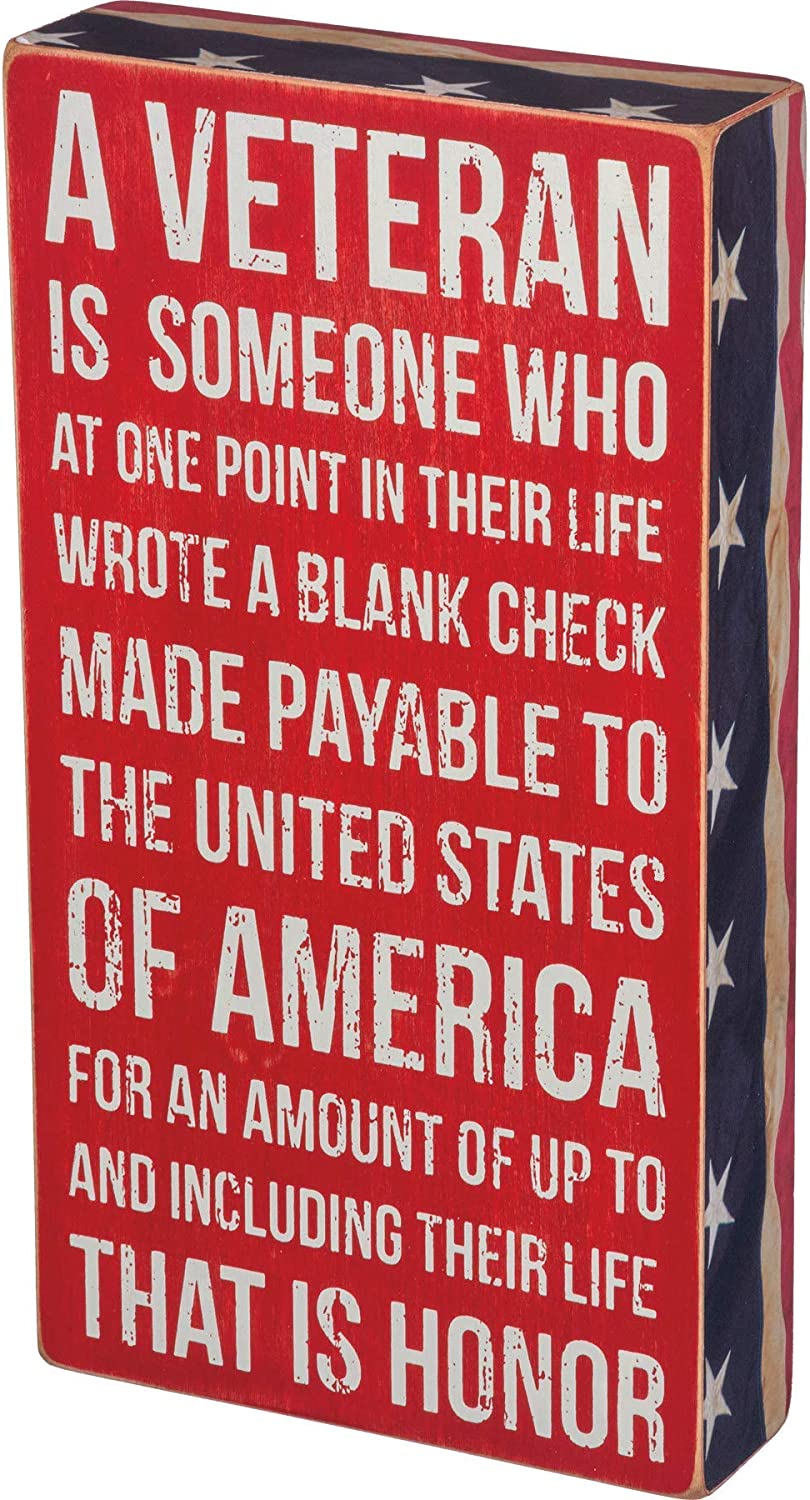 Primitives by Kathy 31199 Patriotic-Inspired Box Sign, 6 x 11-Inches, A Veteran
