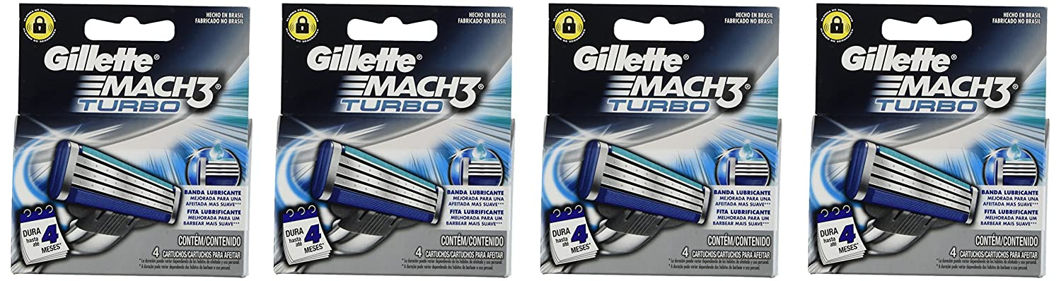 Amazon.com: Gíllette Mach 3 Turbo Razor Refill Cartridges 16-Count (Packaging may vary): Health & Personal Care