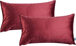 HPUK Pack of 2 Velvet Throw Pillow Cover Cozy Solid Pillowcase Decorative Cushion Cover for Couch Sofa Bedroom Office car, 12x20, Red