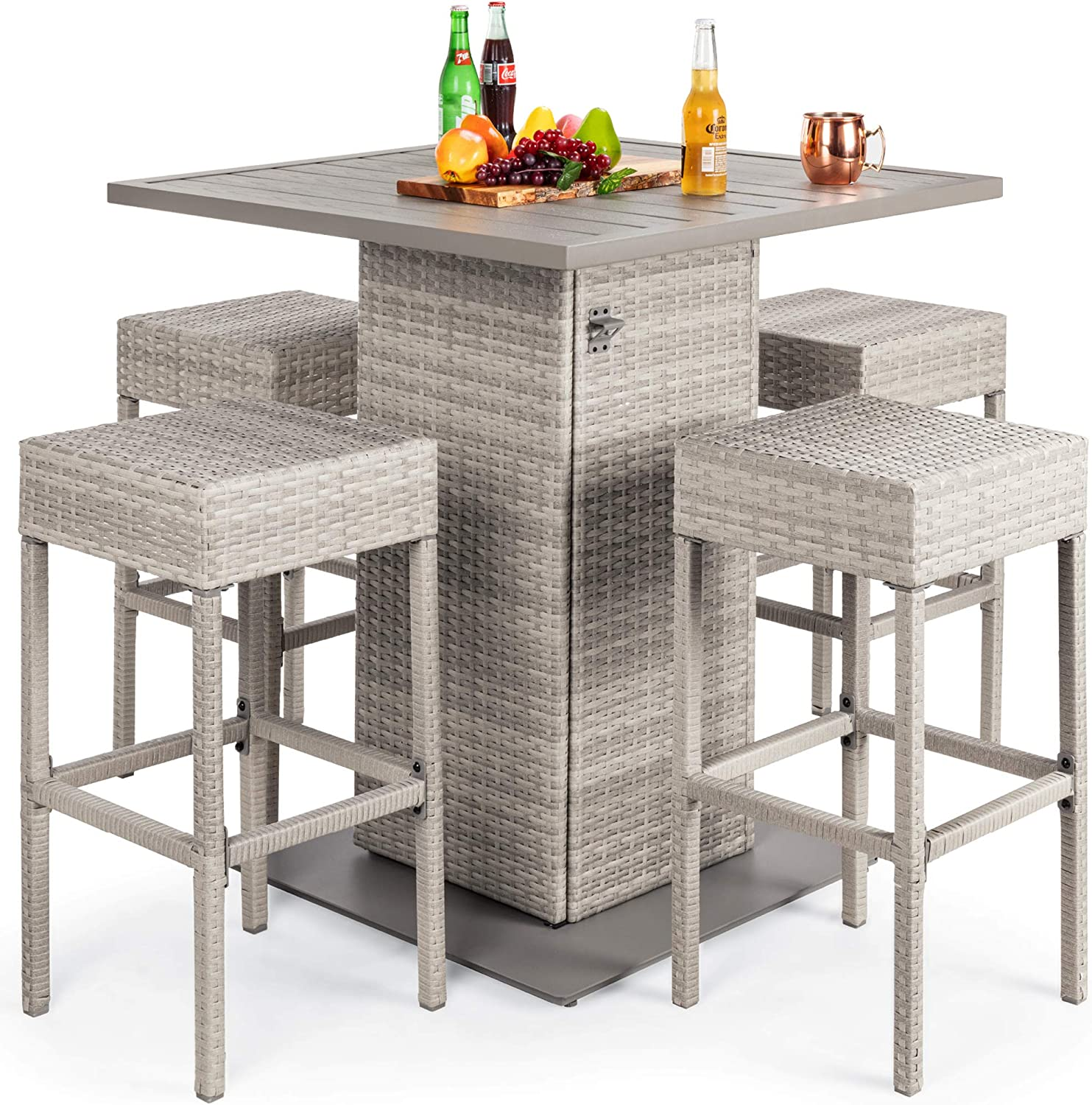 Best Choice Products 5-Piece Outdoor Wicker Bar Table Set for Patio, Poolside, Backyard w/Built-in Bottle Opener, Hidden Storage Shelf, Metal Tabletop, 4 Stools - Gray