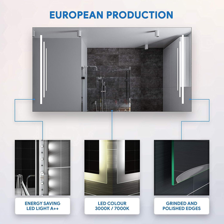 LED Lumineux Miroir avec /Éclairage int/égr/é L27 sur Mesure FORAM Moderne Miroir avec LED Illumination Salle de Bain avec Accessoires