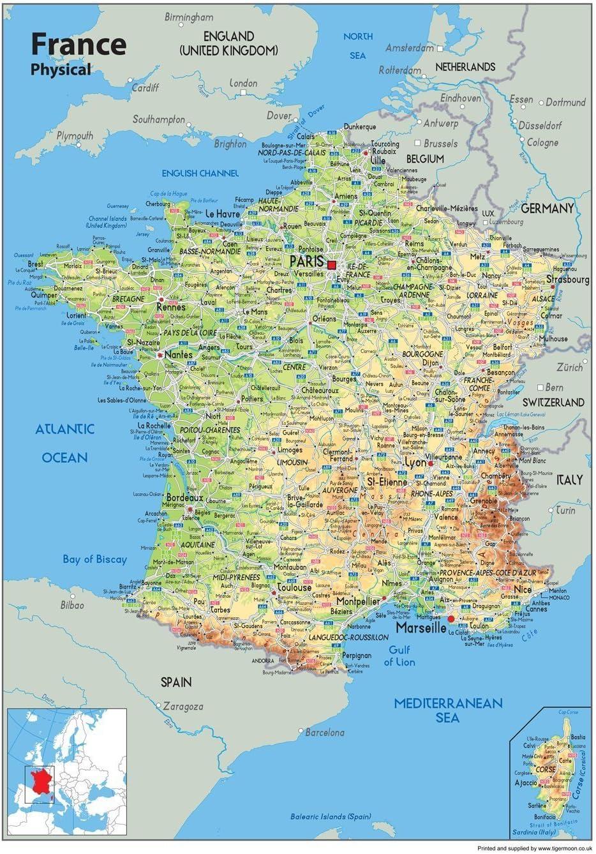 Cartina Francia Fisica In Francese.Cartina Della Francia Tourist E Route Planning Mappa Fisica Carta Plastificata 84 X 59 Centimetres A1 Ideale Per Scuola Ufficio O Casa Amazon It Cancelleria E Prodotti Per Ufficio