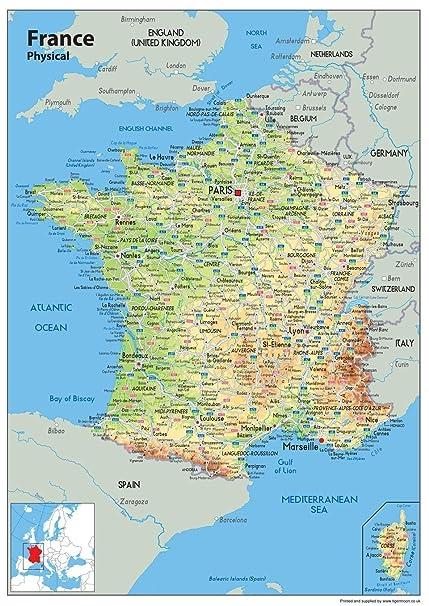 Francia Politica Cartina.Cartina Della Francia Tourist E Route Planning Mappa