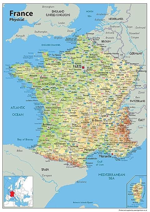 Cartina Di Cannes Francia.Cartina Della Francia Tourist E Route Planning Mappa Fisica