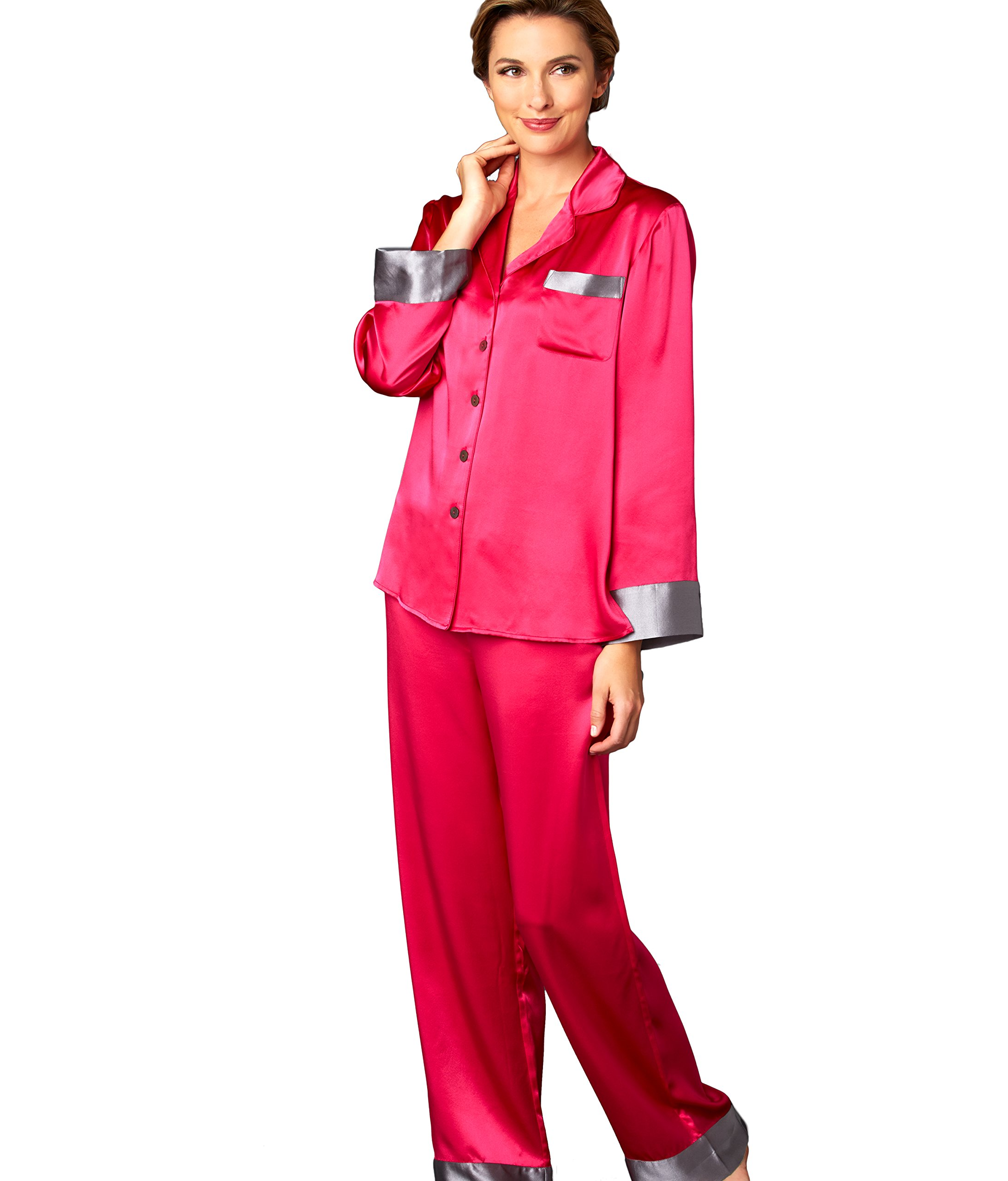 Julianna Rae Women's 100% Silk Pajamas, Classic Fit, Evening Lounge Collection, Amore, S