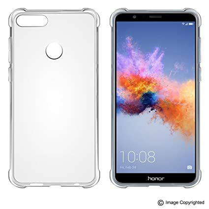 pretty nice 8415f 06d60 FOSO() Honor 7X Clear Silicon Transparent Back Cover Case with Protective  Shock Proof Corner for Honor 7X (Transparent Bumper TPU)