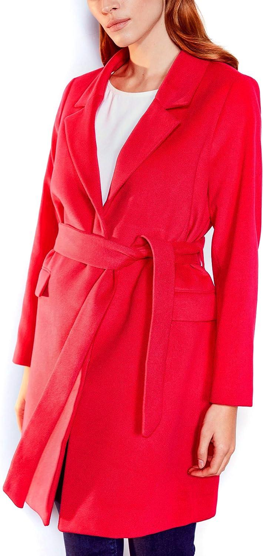 LC WAIKI Manteau caché pour Femme avec Ceinture Fuchsia