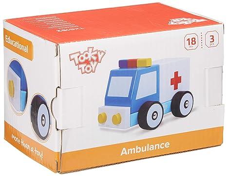 Tooky Toy - Ambulancia de madera con ruedas para niños a partir de 18 meses