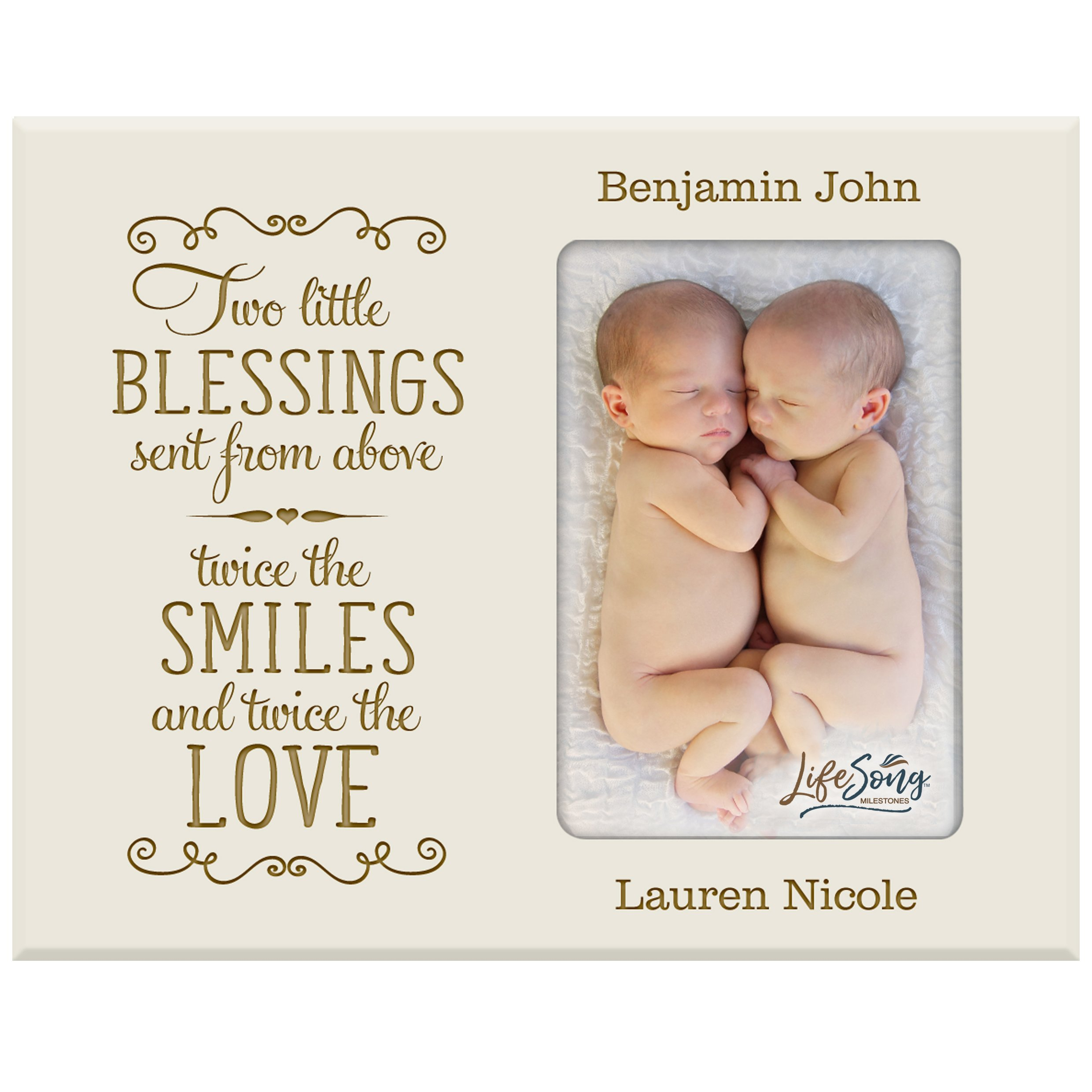 LifeSong Milestones Personalized New Baby Gifts for Twins Picture Frame for Boys and Girls Custom Engraved Photo Frame for New Parents Nana,Mimi and Grandparents (Ivory)