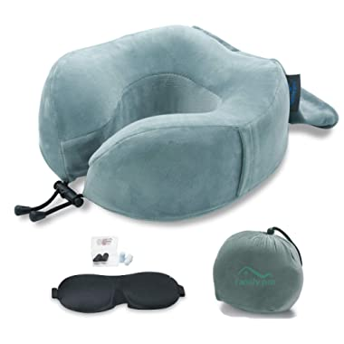 Family Pro Memory Foam Travel Pillow for Airplanes - Neck Pillow with Eye Mask and Earplugs – Removable & Washable Plush Velour Cover - Grey
