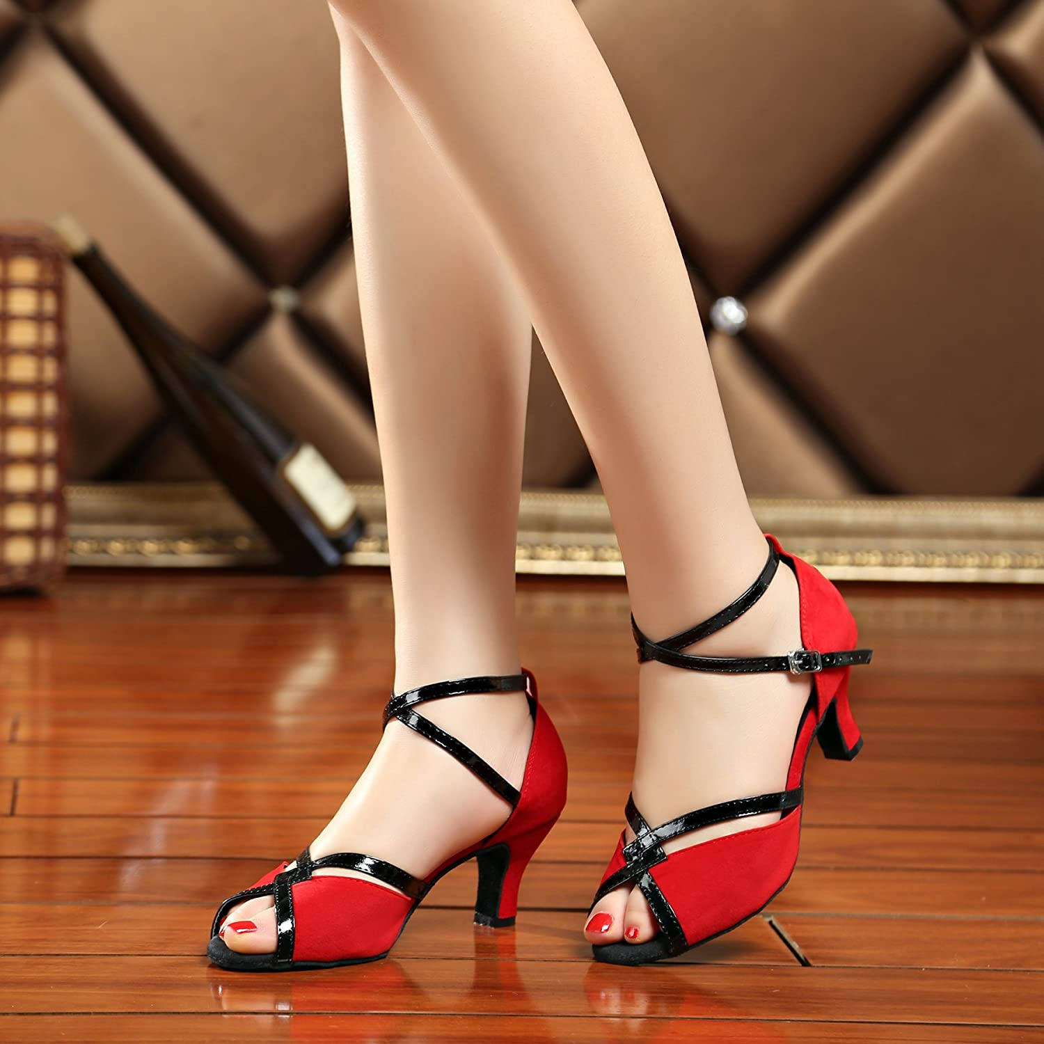 Miyoopark Ladies Fashion Ankle Strap Suede Latin Dance Sandals Wedding Shoes