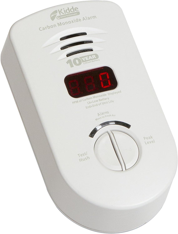 Kidde Living Area Plug-in Carbon Monoxide Detector Alarm with Sealed Lithium Battery Backup and Digital Display | 900-0280 | KN-COP-DP-10YL | Frustration Free Packaging