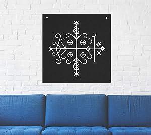 Papa Legba Voodoo Veve Wall Tapestry - Goat Skull Sigil of Lucifer Pentagram Dragon Demon Evil Mendes Goat's Head Gothic Metal Occult Punk Satan Satanic Death Wicca Baphomet Leviathan Cross Inverted
